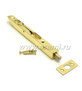 Шпингалет торцевой LX-160 GP сталь (золото)