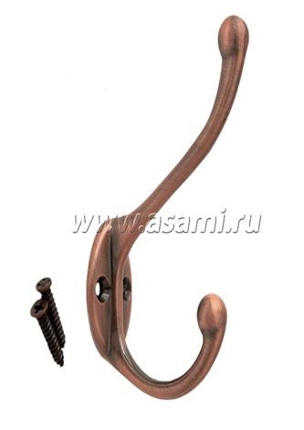 Крючок двойной М-11AC вертикальный(старая медь)